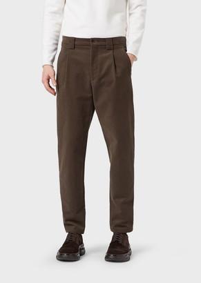 Giorgio Armani Cotton Moleskin Trousers With Darts