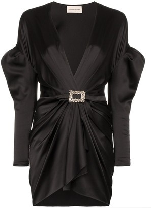 Alexandre Vauthier Puffed Shoulder Plunge Mini-Dress