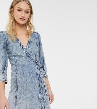 Monki mini denim wrap dress in blue