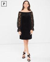 White House Black Market Petite Off-The-Shoulder Lace Sleeve Black Velvet Shift Dress