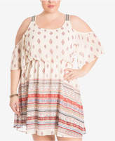 Eyeshadow Trendy Plus Size Cold-Shoulder Peasant Dress