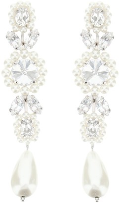 Simone Rocha Cameo Drop Earrings With Pearls And Crystals