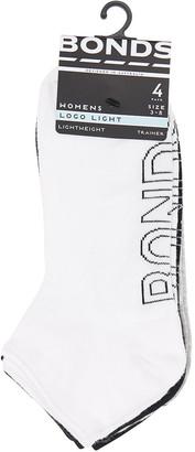 Bonds Womens Logo Light Trainer Socks 4 Pack