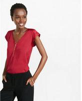 Express mixed texture zip front blouse
