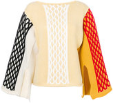 J.W.Anderson colour block cable knitted top - women - Cotton/Polyamide/Virgin Wool - S