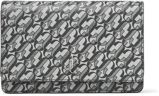 Jimmy Choo PALACE Silver and Black Galactic Glitter Fabric Chain Wallet with JC Logo