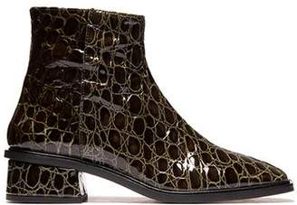 Croco L'intervalle Galway Olive Leather Boot