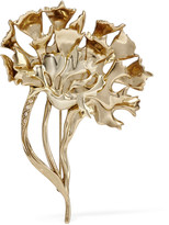 Oscar de la Renta Carnation gold-plated crystal brooch