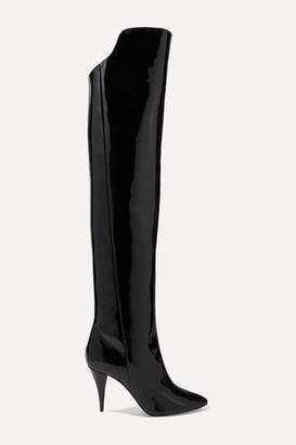Saint Laurent Kiki Patent-leather Over-the-knee Boots - Black