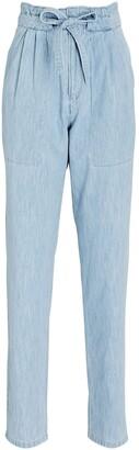 Etoile Isabel Marant Muardo Chambray Tie-Waist Trousers