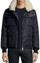 Moncler Darwin Shirt Jacket w/Shearling Collar