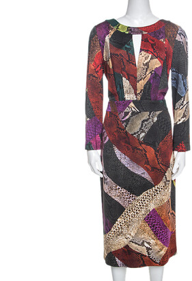 Just Cavalli Multicolor Snakeskin Print Pencil Dress L