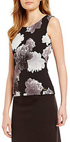 Calvin Klein Petites Contrast Floral Knit Shell