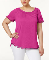 INC International Concepts Plus Size Popsicle Pom-Pom Top, Created for Macy's