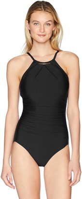 Calvin Klein Women's Solid high Neck Pleated one Piece Swimsuit
