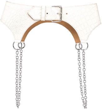Sandy Liang Corbin Belt in Cream Croc | FWRD