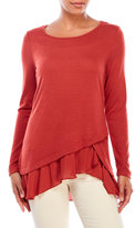 Fever Long Sleeve Asymmetrical Ruffle Top