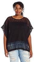 Lucky Brand Women's Plus-Size Scarf-Embroidered Top