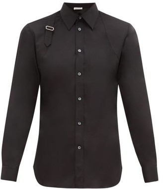 Alexander McQueen Pique-panelled Cotton-poplin Harness Shirt - Black