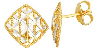 Primavera Two-Tone 24k Gold & Sterling Silver Textured Square Stud Earrings