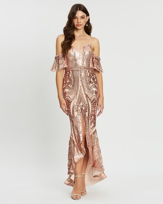 Bariano Chandra Off-Shoulder Pattern Sequin Midi Dress