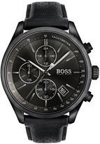 Hugo Boss Hugo Boss Black Grand Prix Black Chronograph Dial Black Leather Strap Mens Watch