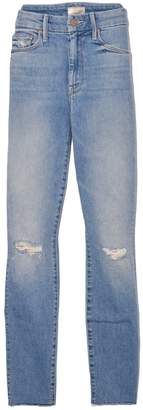 Mother High Waisted Looker Ankle Fray Jean in Shoot To Thrill Destroyed