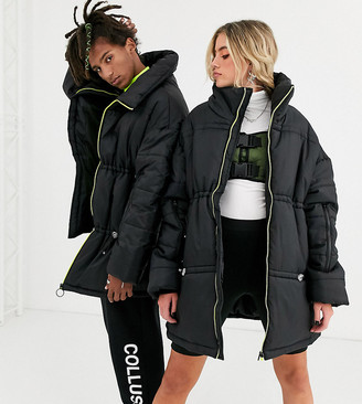 Collusion Unisex oversized cape puffer jacket in black