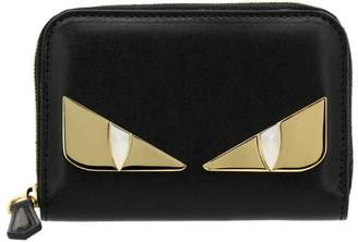 Fendi Monster Eyes Zip Around Mini Wallet In Leather With Maxi Eyes Bag Bugs