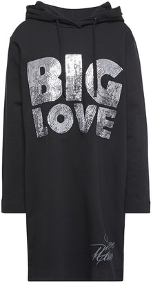 Love Moschino Sequin-embellished Printed Stretch-cotton Fleece Hooded Mini Dress
