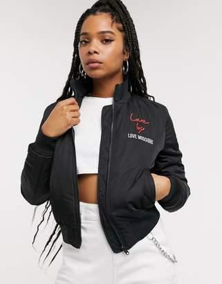 Love Moschino Love by logo bomber jacket-Black