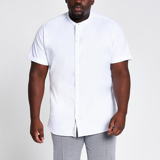 River Island Big and Tall white grandad Oxford shirt