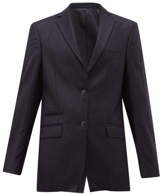 Officine Generale Charlene Single Breasted Pindot Wool Blazer - Womens - Navy