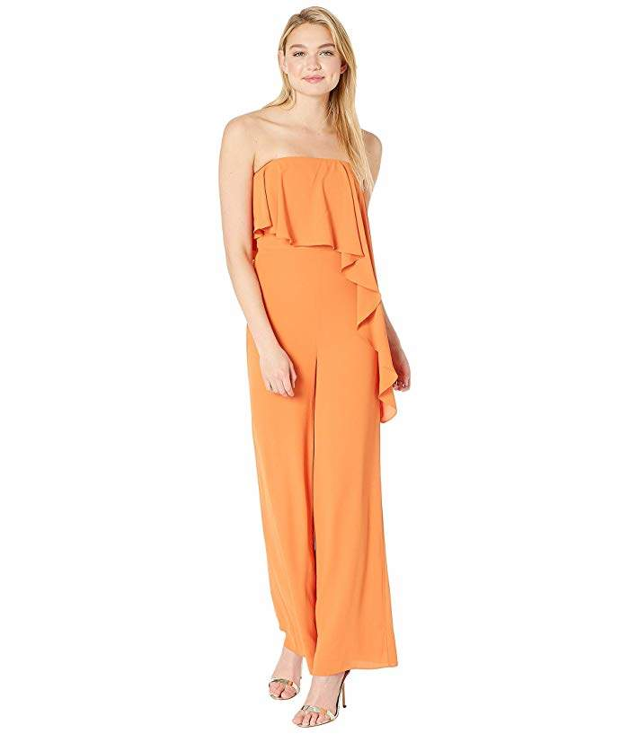 Halston Strapless Wide Leg Jumpsuit with Flounce Overlay
