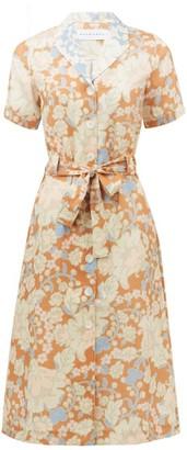 Ephemera - Spliced Floral-print Linen Shirt Dress - Pink Print