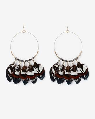 Express Beaded Wire Feather Drop Earrings