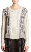 Derek Lam Two-Tone Cable-Knit Wool Sweater