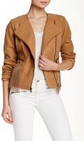 Jessica Simpson Asymmetric Fringe Moto Jacket