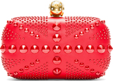 Alexander McQueen Red Studded Skull Britania Box Clutch