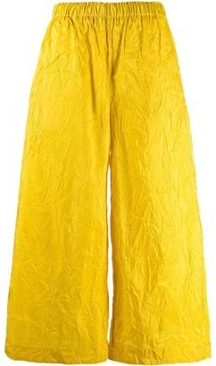Daniela Gregis Wide-Leg Cropped Silk Trousers