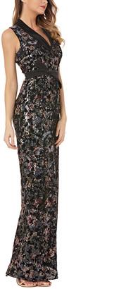 Kay Unger Sequin Slit Gown