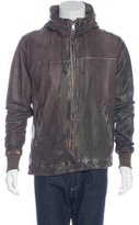 Giorgio Brato Distressed Leather Hooded Jacket w/ Tags
