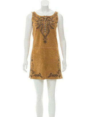 Hermes Embellished Suede Dress brass