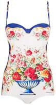 Dolce & Gabbana Mosaic Tile Print Push-Up Swimsuit