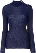 Balmain button-embellished turtleneck jumper - women - Polyamide/Mohair/Wool - 36
