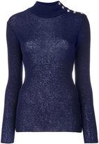 Balmain button-embellished turtleneck jumper - women - Polyamide/Mohair/Wool - 38