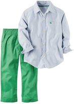 Carter's Baby Boy Striped Button-Down Poplin Shirt & Green Canvas Pants Set