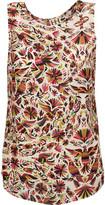 Haute Hippie Split-Back Printed Silk Top