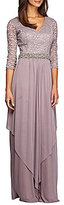 Alex Evenings Petite V-Neck Embellished Gown