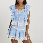 Thumbnail for your product : River Island Womens Blue lace trim crop top